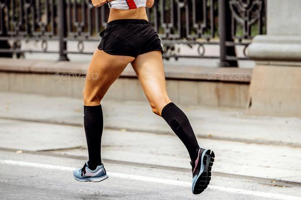 female runner feet - Stock Photo - Images