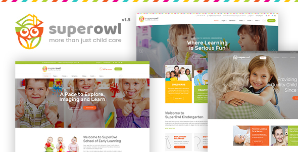 Image of SuperOwl - Kindergarten, School of Early Learning, Nanny Agency HTML Template