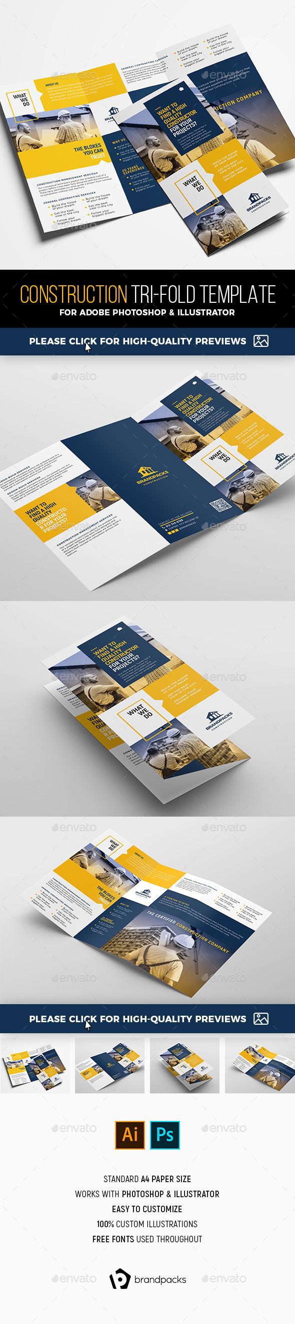 Construction Tri-Fold Brochure Template - Corporate Brochures
