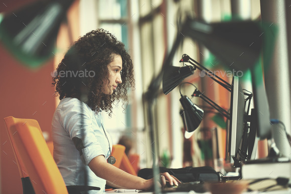 young  business woman at office - Stock Photo - Images