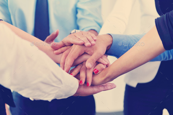 business people group joining hands - Stock Photo - Images