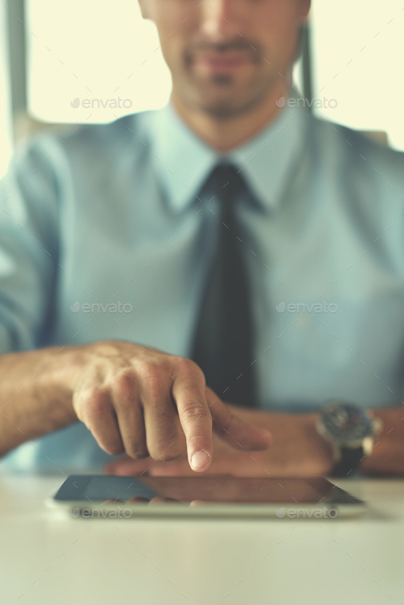 business man use tablet compuer at office - Stock Photo - Images