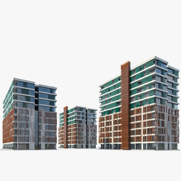 Apartment Buildings 01 - 3DOcean Item for Sale