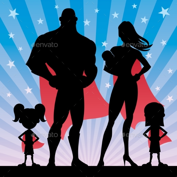 Superhero Family with 2 Girls and Baby - People Characters
