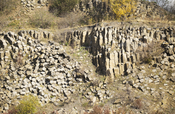 Basalt columns and stones - Stock Photo - Images