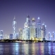 Real Time Dubai City at Night Reflected in Water - VideoHive Item for Sale