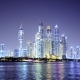 Night Light Dubai City Bay Downtown with Floating Marine Police Boat - VideoHive Item for Sale