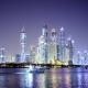 Night Light Dubai Downtown with Floating Yachts and Boats in the Foreground - VideoHive Item for Sale