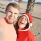 Happy Christmas Couple Selfie Picture on Beach Vacation - VideoHive Item for Sale