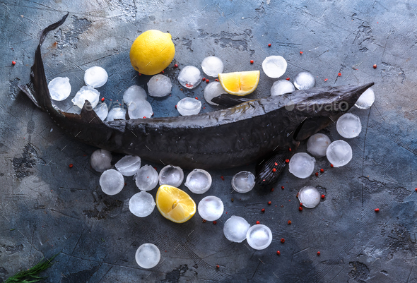 Fresh raw sterlet on ice, top view - Stock Photo - Images