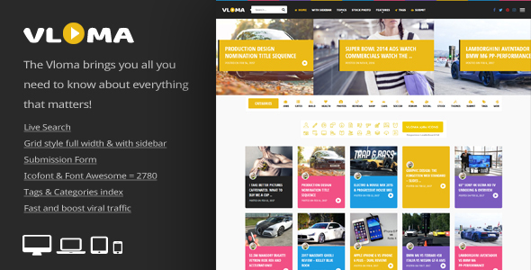Vloma Grid - A Responsive WordPress Video Blog Theme - News / Editorial Blog / Magazine