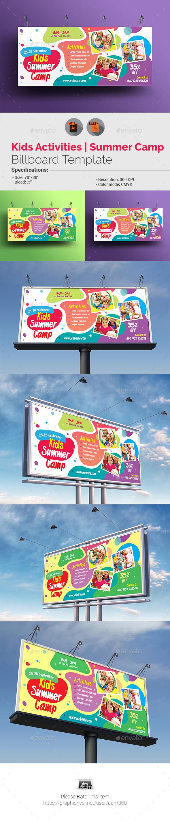 Kids Activities | Kids Summer Camp Billboard - Signage Print Templates