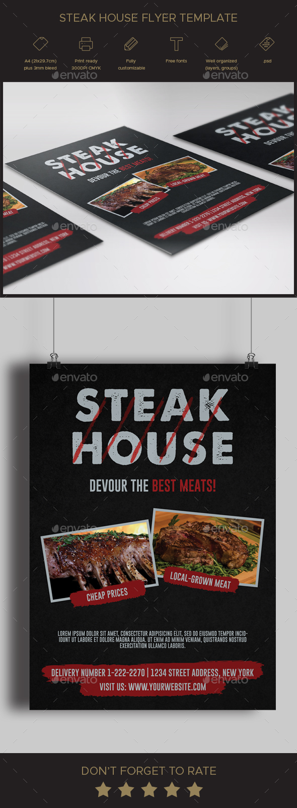 Steak House Flyer Template - Restaurant Flyers