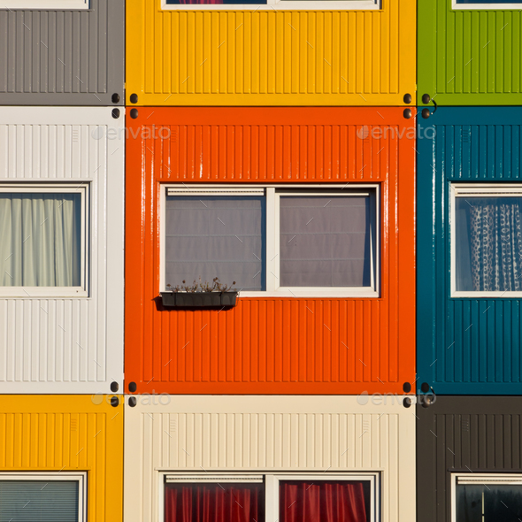 colorful cargo containers used as home by students - Stock Photo - Images