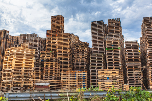Stacks of Wooden Transportation Pallets - Stock Photo - Images