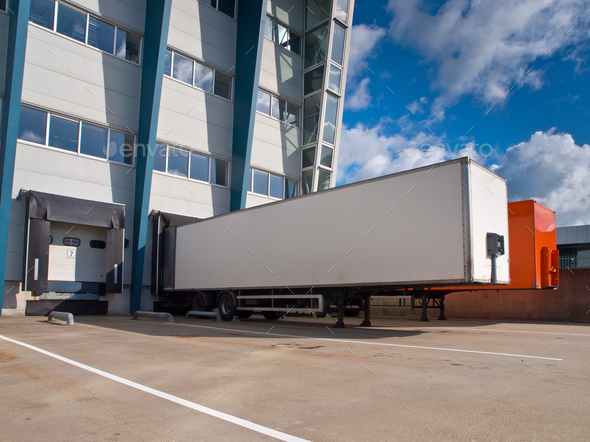 Distribution Center with Trailers Export concept - Stock Photo - Images