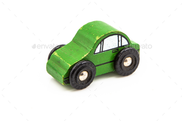 Green Wooden Car Toy - Stock Photo - Images