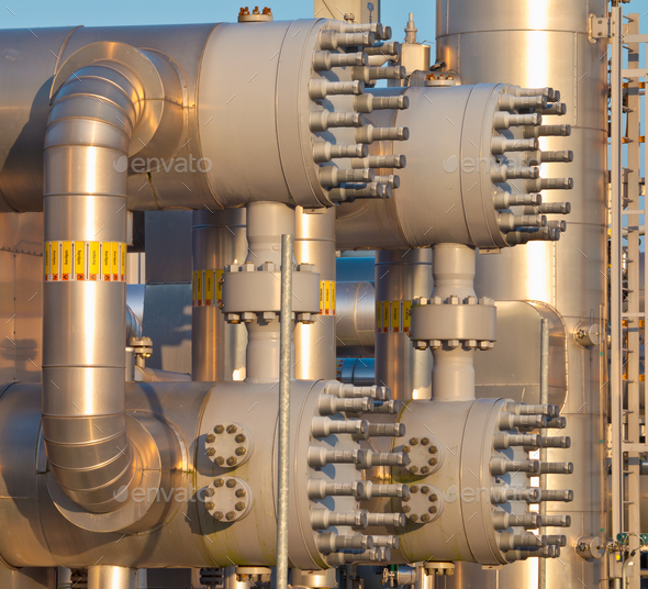 close up of a modern natural gas processing plant - Stock Photo - Images
