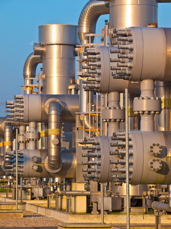 Detail of a modern natural gas processing plant - Stock Photo - Images