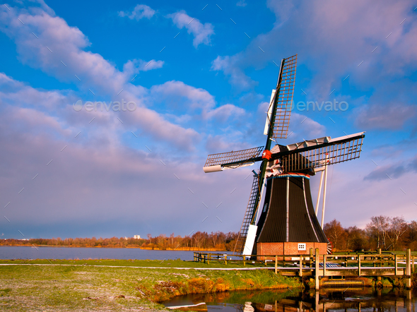 Wind Mill Netherlands - Stock Photo - Images
