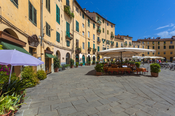 Oval Square in Lucca - Stock Photo - Images