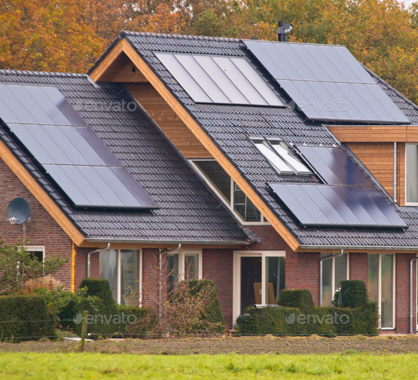 Solar panels on  house - Stock Photo - Images