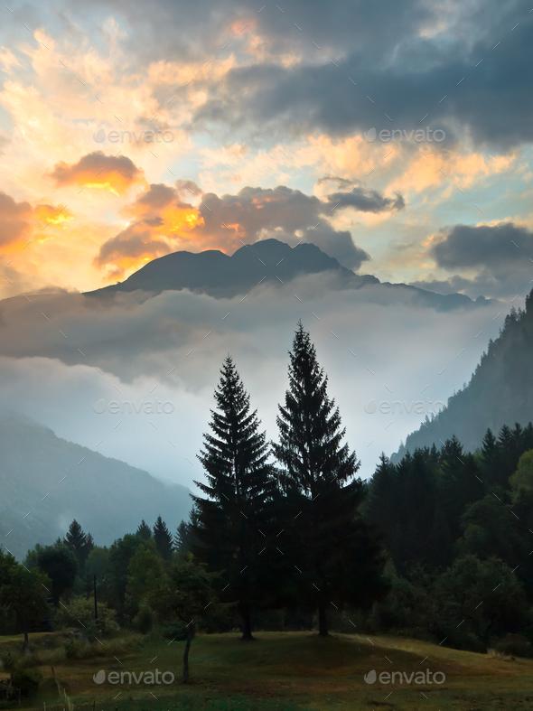 Sunrise over Les Deux Alpes - Stock Photo - Images