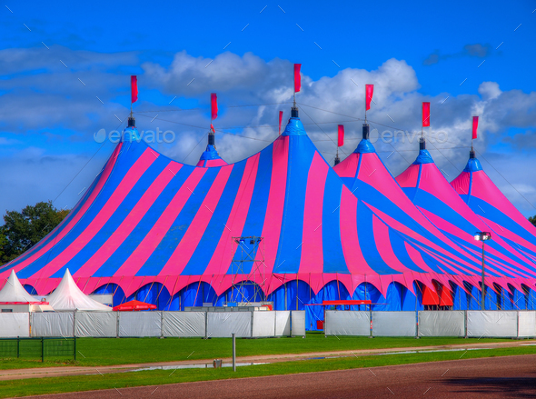 Pink and Blue Big Top Circus Tent - Stock Photo - Images