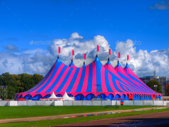 Big Top Circus Tent in Bright Colors - Stock Photo - Images