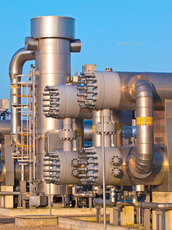 Part of a modern natural gas processing plant - Stock Photo - Images