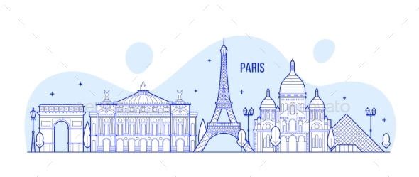 Paris Skyline France City Notable Buildings Vector - Buildings Objects