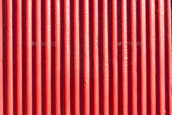 Red corrugated metal sheet background - Stock Photo - Images