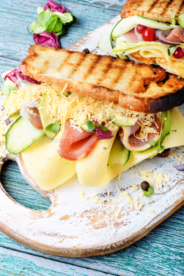 Sandwiches on cutting board - Stock Photo - Images