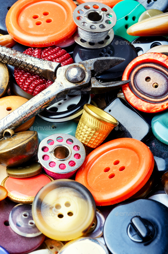 Assorted bright buttons - Stock Photo - Images