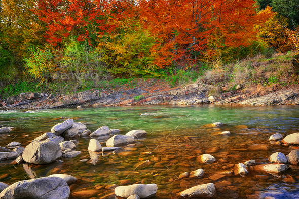View of mountain river at autumn time - Stock Photo - Images