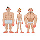 Three Types of Caricatural Male Anatomies - GraphicRiver Item for Sale