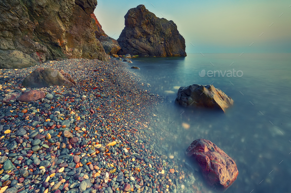 long exposure of sea and rocks - Stock Photo - Images