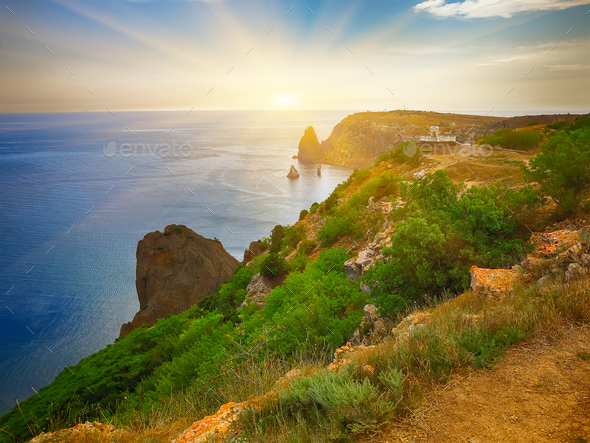 The coast at the cape Fiolent. Crimea - Stock Photo - Images