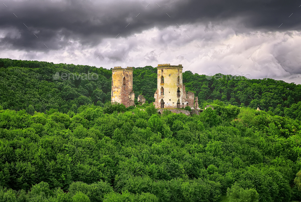 Spring view of Chervonohorod Castle ruins - Stock Photo - Images