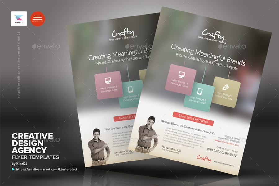 Creative design agency flyers by kinzi21 graphicriver for Graphic design agency