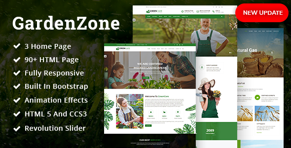 GardenZone | Agriculture, Gardening & Landscaping Responsive HTML Template - Business Corporate