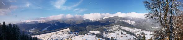 Panorama mountain slope - Stock Photo - Images