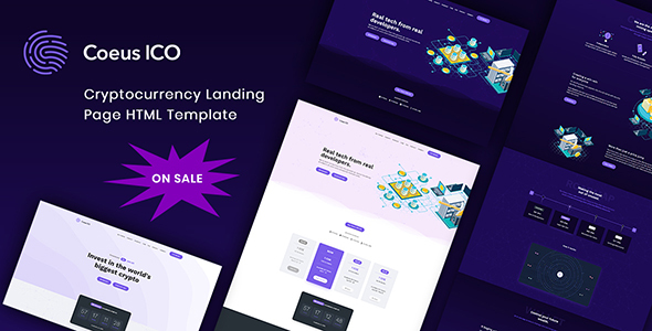 Coeus - Cryptocurrency Landing Page HTML Template - Technology Site Templates