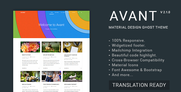 Avant - Material Design Ghost Theme - Ghost Themes Blogging