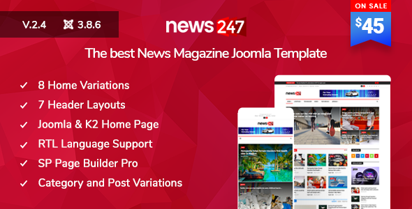 Image of News247 - News/Magazine Newspaper Joomla Template