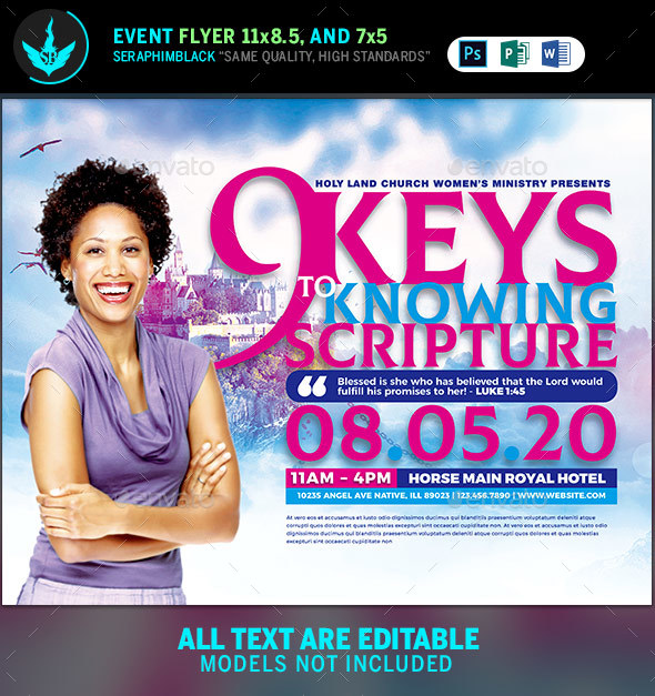 Nine Keys Women's Conference Church Flyer Template - Church Flyers