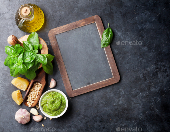 Pesto sauce ingredients - Stock Photo - Images
