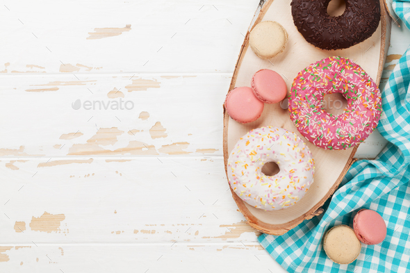Macaroons and donuts - Stock Photo - Images