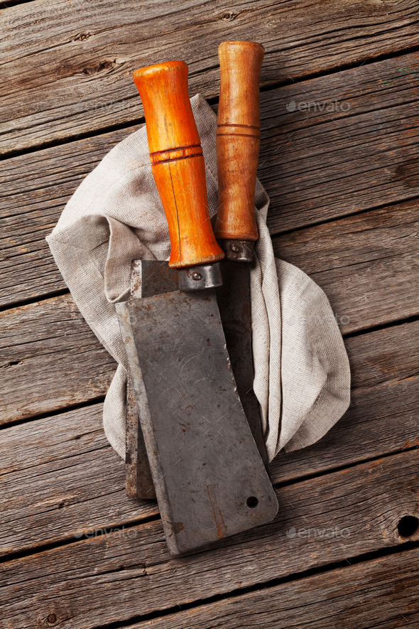 Butcher. Vintage meat knives and kitchen towel - Stock Photo - Images