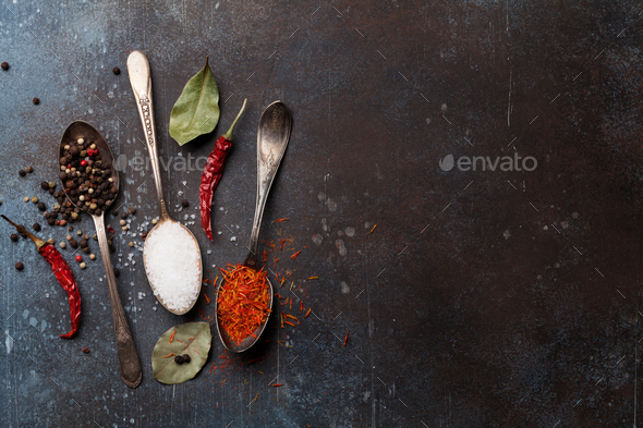 Spices in spoons - Stock Photo - Images